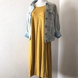 LuLaRoe • Mustard Striped Carly Dress
